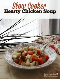 This slow cooker hearty chicken soup is full of flavor and hearty making it a deliciously satisfying meal in a bowl, I adapt to fit my Paleo lifestyle.