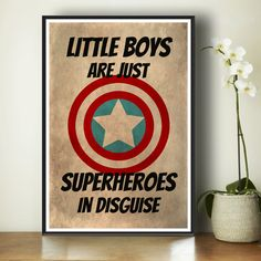 Superhero Kids Poster - Marvel Comics - Gift For Boys - Kids Art Print - Superhero Art Print - Bedroom Decor - Captain America - Superheroes...