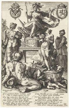 Titelprent voor prentserie De Romeinse helden, Hendrick Goltzius, 1586