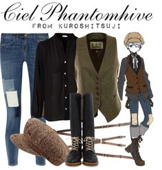 Casual cosplay of Ciel Phantomhive (from Black Butler or Kuroshitsuji anime series)-- character inspired outfit Casual Cosplay, Easy Cosplay, Cosplay Outfits, Anime Outfits, Fandom Fashion, Geek Fashion, Kawaii Fashion, Anime Inspired Outfits, Character Inspired Outfits