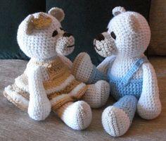 Crocheted teddy bear pair doll toys  by GritSadlerOriginals