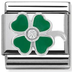 Nomination Green Clover Charm 33030513 Ensure luck is on your side, with this chic clover charm from Nomination, it is crafted from stainless steel with sterling silver accents, green enamel and a cubic zirconia cryst . Nomination Charms, Nomination Bracelet, Clover Green, Four Leaf Clover, James Jewelry, Good Luck Gifts, Jewellery Uk, Thomas Sabo, My Favorite Color