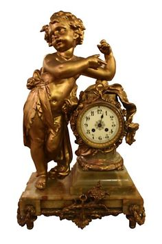 Bronze mantel clock on a onyx base Mantel Clocks, Mantle, Michael Cunningham, Buddha, Bronze, Base, Statue, Antiques, Antiquities