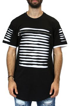 Distressed Zipper Tee in Black and White – Fashion X Freedom
