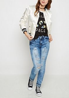 Ivory Sateen Athletic Striped Bomber