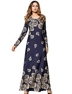 Floral Long Sleeve Maxi A-line Dress Tight Dresses, Sexy Dresses, Classy Sexy Dress, Free Clothes, Clothes For Women, Vestidos Sexy, Cheap Dresses Online, Vestido Casual, Long Sleeve Maxi