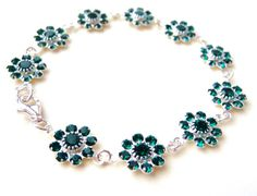 Swarovski Emerald Crystal Bracelet Green Rhinestone by JBMDesigns