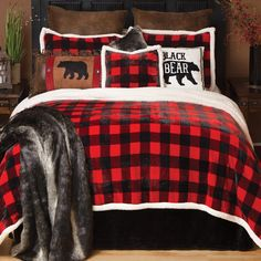 Buffalo Plaid Plush Bedding Collection: Comfort and style merge in this soft polyester bedding in red and black buffalo check plaid with faux shearling trim. Bed sets include comforter, two shams (twin has one) and one accent pillow. Plaid Bedroom, Bedroom Red, Bedroom Decor, Ikea Bedroom, Outdoor Bedroom, Bedroom Ideas, Master Bedroom, Wall Decor, Rustic Bedding Sets