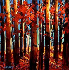 Autumnal Celebration, by Michael O'Toole Abstract Landscape, Landscape Paintings, Abstract Art, Love Painting, Painting & Drawing, Canadian Artists, Tree Art, Cool Art, Awesome Art