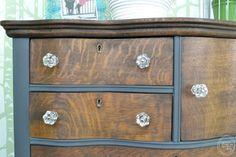 Two-toned antique oak dresser makeover from Refresh Living