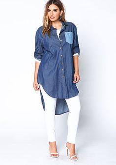Plus Size Denim Boyfriend Shirt