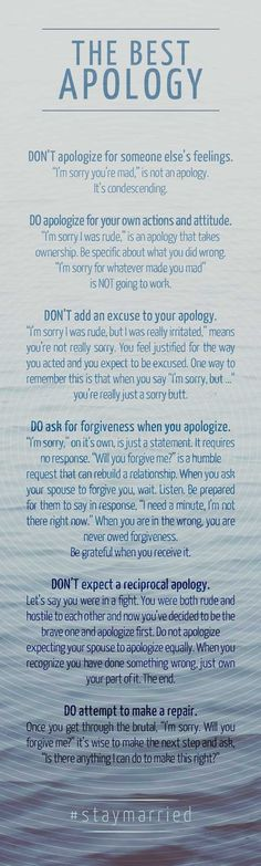 "This is good advice for an apology for any important relationship. I particularly liked the suggestion to be specific about what you are apologizing for. Not saying ""for anything I've ever said or done"". I received an ""apology"" worded this way recently. It was NOT a sincere apology and I did not believe it for one second! Nice try. They were just words. Very disrespectful (and stupid) of you to think I'd fall for it."