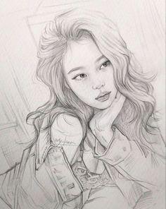 Kpop Drawings, Girly Drawings, Art Drawings Sketches Simple, Pencil Art Drawings, Realistic Drawings, Drawing Art, Figure Sketching, Arte Sketchbook, Celebrity Drawings