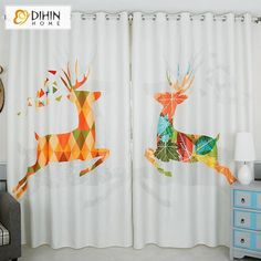 DIHINHOME Home Textile Kid's Curtain DIHIN HOME 3D Printed Cartoon Abstract Fawn Blackout Curtains,Window Curtains Grommet Curtain For Living Room ,39x102-inch,2 Panels Included Printed Curtains, Kids Curtains, Drapes Curtains, Rod Pocket Curtains, Grommet Curtains, Blackout Curtains, Curtain Length, Window Dressings