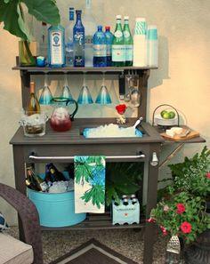 potting bench - repaint, add towel bar, bottle opener, casters + cooler tubs