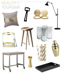 black and gold bar accessories