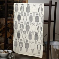 Image of Owls of the British Isles tea towel