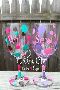 Personalized Wine Glasses Girly Sayings bachelorette Bridal wedding party birthday on Etsy, $12.00