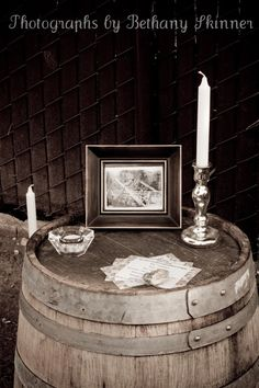 Wine barrel used for decorations at a 1920's themed party