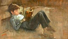 John Kennedy Jr. lendo, s/d Aaron Shikler (EUA, 1924) óleo sobre tela