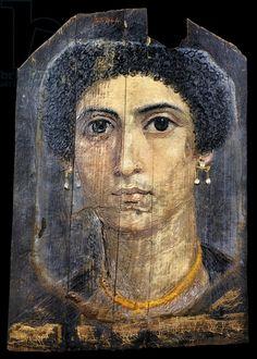 Female portrait, encaustic painting on wood, 31x22 cm, from Fayoum, Egyptian Civilization, Roman Empire 1st century