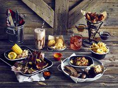 Tex-Mex American themed dining with black enamel tableware Tex Mex, Black Enamel, Catering, Presentation, Cheese, Dining, American, Tableware, Copper