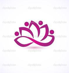 Mor lotus çiçeği logo vektör - Stok İllüstrasyon: 31073085