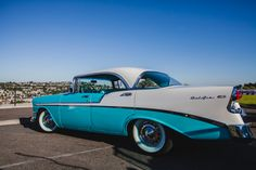 classic 1950s getaway car : my uncle had one of these and when he got sick he kept it at our place. When I was little about 5 or 6 I put sugar in gas tank. I don't know why can't remember, but boy did I get a whooping from my Dad. Do remember that!:) My uncles car was this color