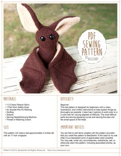 Beginner Bat Sewing Pattern, Stuffed Animal Pattern, Bat Plush Tutorial, PDF…