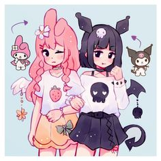 kuromi and my melody fan art! ✨💞 they're literally so cute i love 's character designs🥺💘 Arte Do Kawaii, Kawaii Art, Kawaii Anime Girl, Anime Art Girl, Cute Art Styles, Cartoon Art Styles, Anime Bebe, Hello Kitty My Melody, Cute Kawaii Drawings