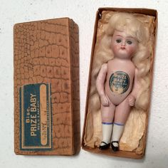 MIB German All Bisque Prize Baby Doll in Original Box with Chest Tag Sleep Eyes