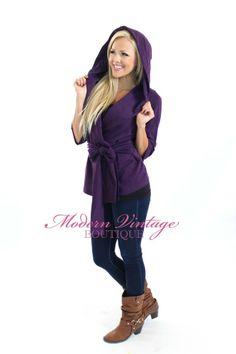 Modern Vintage Boutique - Classy Hooded Tie Cardigan Purple, $46.00 (http://www.modernvintageboutique.com/classy-hooded-tie-cardigan-purple.html)
