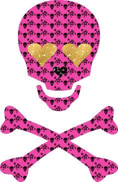glitter graphics | Emo Skull With Heart Eyes Glitter Graphics