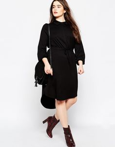 Image 4 ofASOS CURVE Waisted Shirt Dress In Jersey