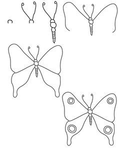 butterfly step simple easy drawings doodle drawing draw cartoon sketches instructions techniques