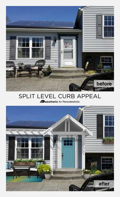 Give your split level curb appeal! How to add fresh character and architectural interest to the exterior of a split level home. Home Exterior Makeover, Exterior Remodel, Porch Makeover, House With Porch, House Front, Tri Level Remodel, Tri Level House, Split Level Home, Split Level Entryway