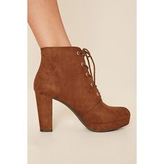 Forever21 Faux Suede Platform Ankle Boot ($28) ❤ liked on Polyvore featuring shoes, boots, ankle booties, ankle boots, high heel boots, lace up platform bootie, lace up high heel boots, lace up ankle boots and platform ankle boots