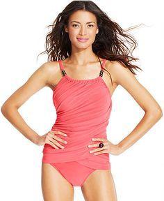 Magicsuit Draped Tummy-Control Tankini Top & High-Waist Brief Bottom - Swimwear - Women - Macy's.