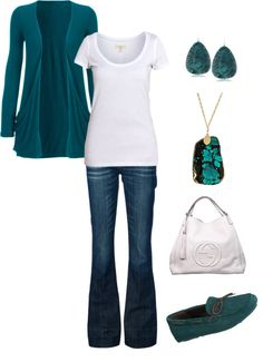 """Teal Jersey Cardigan"" by mmessenger on Polyvore"