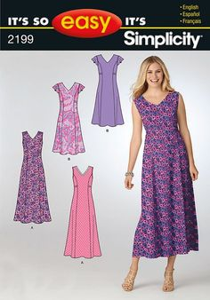 Purchase Simplicity 2199 misses dress and read its pattern r Summer Dress Patterns, Dress Making Patterns, Easy Sewing Patterns, Simplicity Sewing Patterns, Clothing Patterns, Women's Dresses, Summer Dresses, Dance Dresses, Vintage Dresses