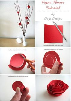 Painting the roses red! Paper roses tutorial. New Years Decorations, Chinese New Year Decorations, Flower Decorations, Glue Gun, Diy Paper, Paper Art, Paper Roses, Diy Design, Measuring Spoons