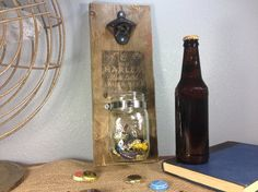 Bottle Opener with Capcatcher Rustic Bottle by PencilsAndPallets Mounted Bottle Opener, Beer Opener, Mason Jars, Rustic, Cool Stuff, Unique Jewelry, Handmade Gifts, Wood, Bar