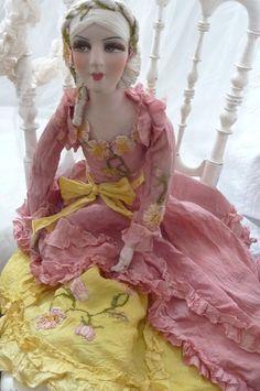 Antique French Boudoir Doll Paris C 1920 Silk Fashion Doll Embroidered   eBay
