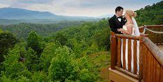 Wedding portrait of couple married in their Gatlinburg cabin