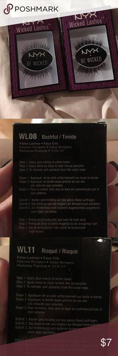 NYX Wicked Lashes Set of 2 NYZ wicked lashes set of 2. WL11 ( risqué) and WL 08 (bashful) NYX Makeup False Eyelashes