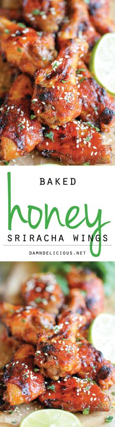 Baked Honey Sriracha Wings Recipe - These wings are perfect game day food with an amazing combination of sweetness and spiciness in every bite, and they're baked to absolute crisp perfection! I Love Food, Good Food, Yummy Food, Tasty, Sriracha Wings, Honey Siracha Wings, Honey Wings, Sriracha Chicken, Honey Chicken