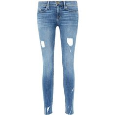 Frame Denim 'Le Skinny de Jeanne' ripped jeans (15,890 INR) ❤ liked on Polyvore featuring jeans, blue, blue ripped skinny jeans, super skinny ripped jeans, torn skinny jeans, skinny jeans and slim ripped jeans