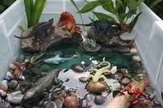 Dinosaur small world play / water sensory bin