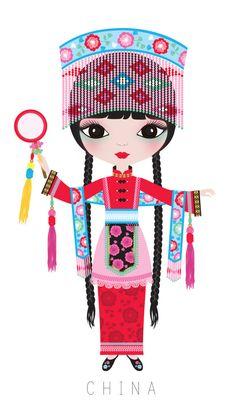 CHINA - Clipart - Dibujos de Muñecas del Mundo