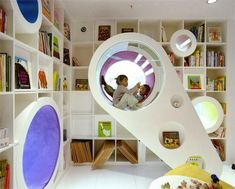 The element of discovery was important for Sako Architects who designed this bookstore/library for the Poplar Library in Beijing. It's child-focused, but adults can appreciate its imaginative design. Rainbow colors lead kids throughout the reading rooms, where there are tiny spaces they can camp out with a favorite book.